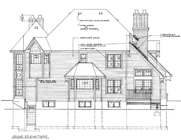 European House Plan 55111 Rear Elevation