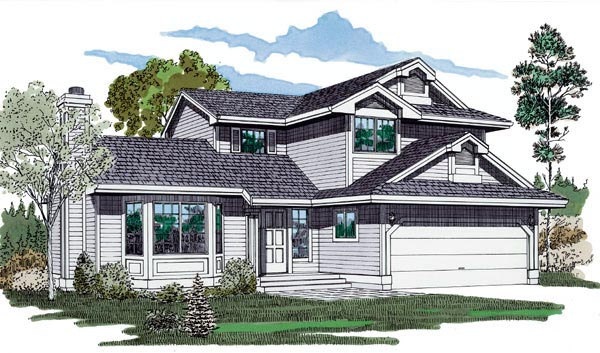 Contemporary Narrow Lot Elevation of Plan 55113