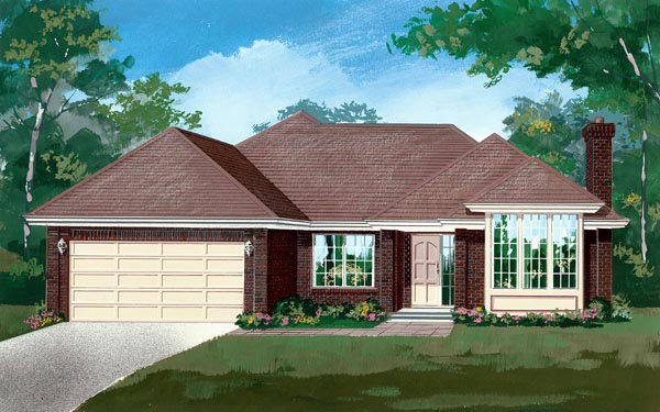 House Plan 55114 | Ranch Style Plan with 2019 Sq Ft, 3 Bedrooms, 2 Bathrooms, 2 Car Garage Elevation