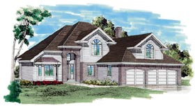 House Plan 55121 | European Style House Plan with 2575 Sq Ft, 3 Bed, 3 Bath, 3 Car Garage Elevation