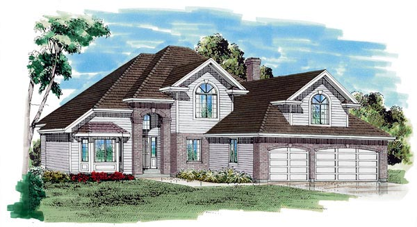 European House Plan 55121 Elevation