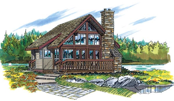 Traditional House Plan 55127 with 1 Beds, 1 Baths Elevation