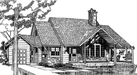 House Plan 55130 | Country Style Plan with 1682 Sq Ft, 3 Bedrooms, 2 Bathrooms, 1 Car Garage Elevation