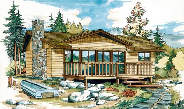 Country, Narrow Lot, One-Story House Plan 55131 with 2 Beds, 1 Baths Elevation