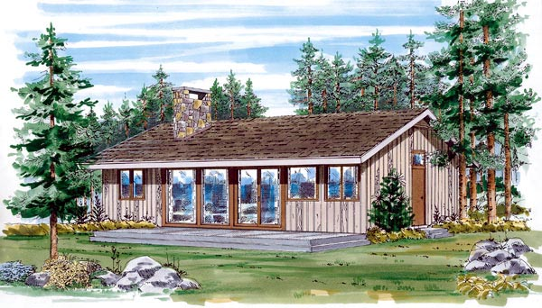 Narrow Lot, One-Story, Ranch House Plan 55134 with 3 Beds, 1 Baths Elevation
