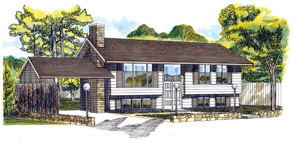Retro, Traditional House Plan 55140 with 3 Beds, 2 Baths, 1 Car Garage Front Elevation