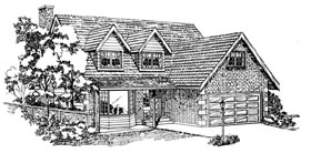 House Plan 55144 | Traditional Style House Plan with 1953 Sq Ft, 4 Bed, 3 Bath, 2 Car Garage Elevation