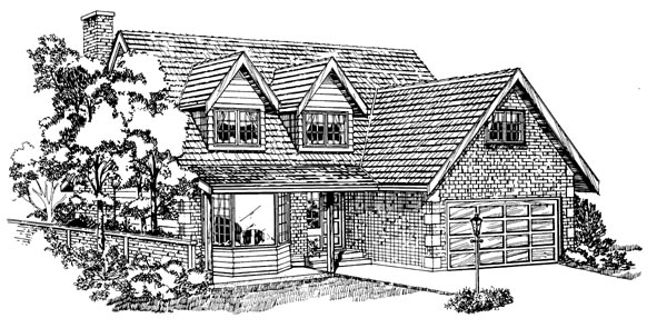 Traditional House Plan 55144 with 4 Beds, 3 Baths, 2 Car Garage Elevation