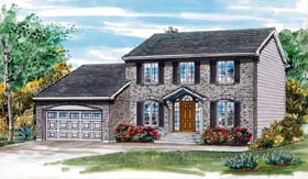 House Plan 55155 | Colonial Style Plan with 1937 Sq Ft, 4 Bedrooms, 3 Bathrooms, 2 Car Garage Elevation