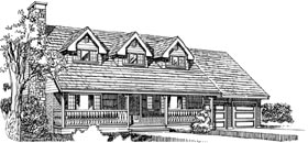House Plan 55157   Cape Cod Style Plan with 2236 Sq Ft, 4 Bedrooms, 3 Bathrooms, 2 Car Garage Elevation