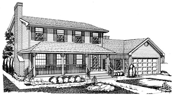 Country House Plan 55159 with 4 Beds, 3 Baths, 2 Car Garage Elevation
