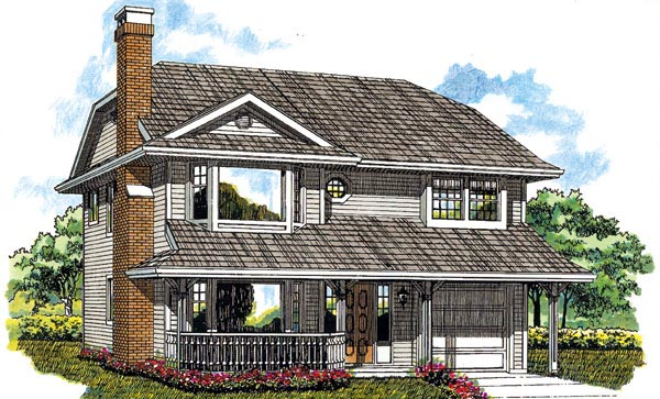 Traditional House Plan 55160 with 3 Beds, 1 Baths, 1 Car Garage Elevation