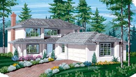 Contemporary House Plan 55167 with 3 Beds, 3 Baths, 2 Car Garage Elevation