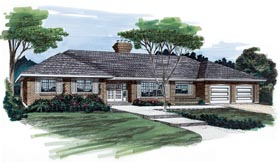 Ranch House Plan 55168 Elevation