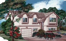 House Plan 55169 | Traditional Style Plan with 1047 Sq Ft, 3 Bedrooms, 2 Bathrooms, 1 Car Garage Elevation