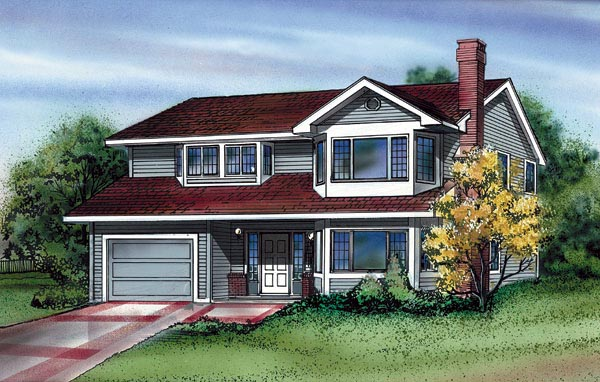 House Plan 55172 | Traditional Style Plan with 1396 Sq Ft, 3 Bedrooms, 2 Bathrooms, 1 Car Garage Elevation