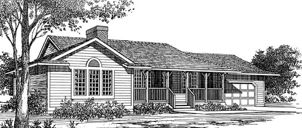 Ranch House Plan 55174 with 3 Beds, 2 Baths, 2 Car Garage Elevation