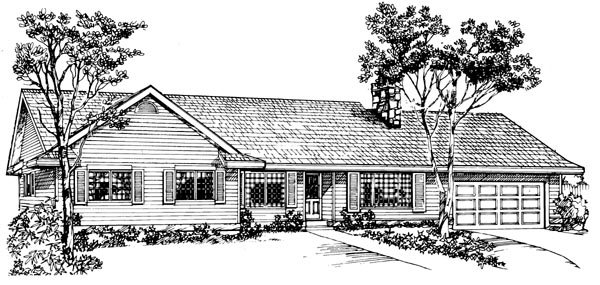 Ranch House Plan 55178 Elevation