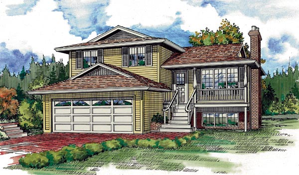 House Plan 55189 | Traditional Style Plan with 1247 Sq Ft, 3 Bedrooms, 3 Bathrooms, 2 Car Garage Elevation