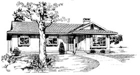 House Plan 55195 | Ranch Style Plan with 1375 Sq Ft, 3 Bedrooms, 2 Bathrooms Elevation
