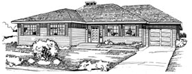 Traditional House Plan 55197 with 3 Beds, 2 Baths, 1 Car Garage Elevation