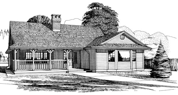 Country, One-Story House Plan 55198 with 3 Beds, 2 Baths Elevation
