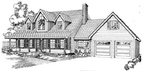 House Plan 55200 | Cape Cod Style Plan with 2389 Sq Ft, 3 Bedrooms, 3 Bathrooms, 2 Car Garage Elevation