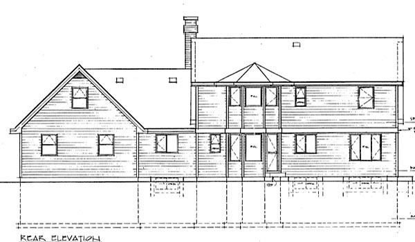 Cape Cod House Plan 55200 Rear Elevation