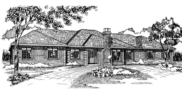European Traditional House Plan 55201 Elevation