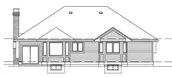 Traditional House Plan 55205 Rear Elevation