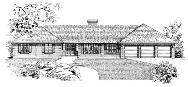 Ranch House Plan 55211 Elevation