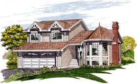 House Plan 55214 | Victorian Style Plan with 1691 Sq Ft, 3 Bedrooms, 3 Bathrooms, 2 Car Garage Elevation