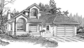 European House Plan 55218 Elevation