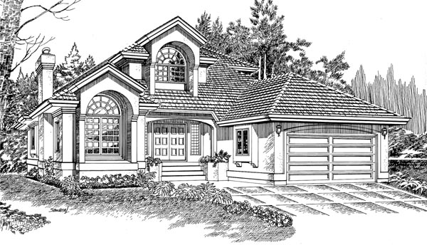 European House Plan 55218 Elevation