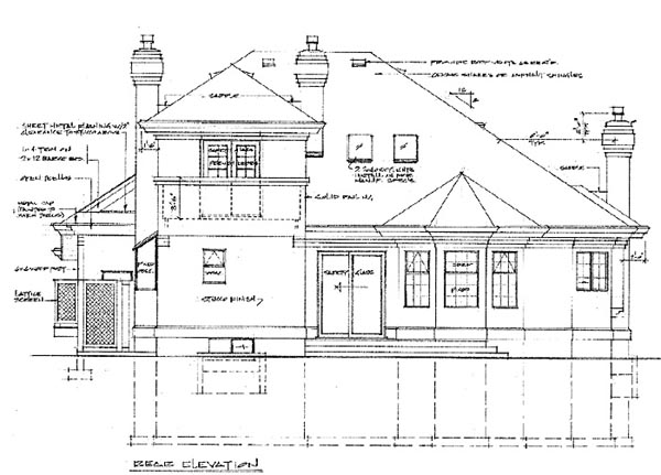 European House Plan 55218 Rear Elevation