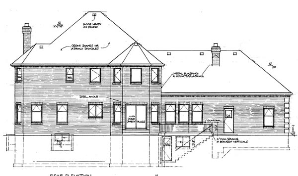 Colonial House Plan 55219 Rear Elevation