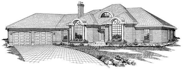 European House Plan 55221 Elevation