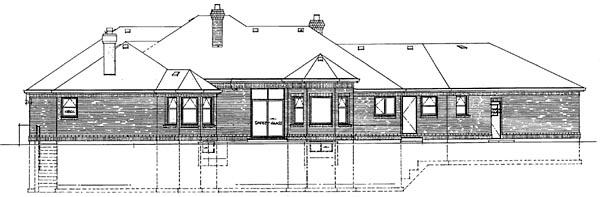European House Plan 55221 Rear Elevation