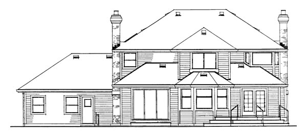 Traditional House Plan 55222 Rear Elevation