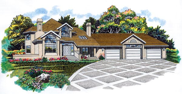 Contemporary House Plan 55223 with 3 Beds, 3 Baths, 3 Car Garage Elevation