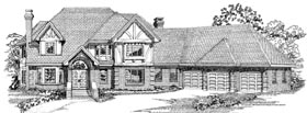 European House Plan 55224 with 4 Beds, 3 Baths, 3 Car Garage Elevation