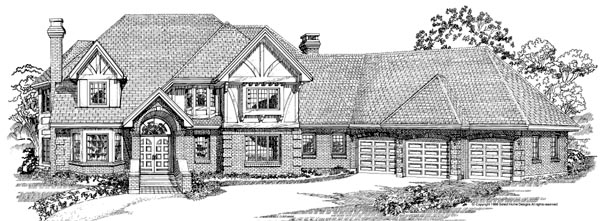 European House Plan 55224 Elevation