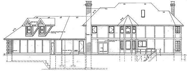 European House Plan 55224 Rear Elevation