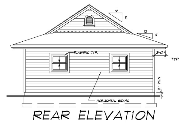 Rear Elevation of Plan 55225