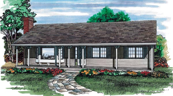 Ranch House Plan 55227 Elevation