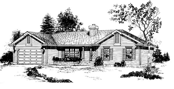 Ranch House Plan 55233 Elevation