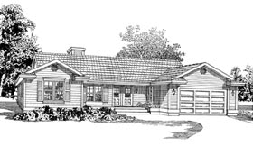 Ranch House Plan 55234 Elevation