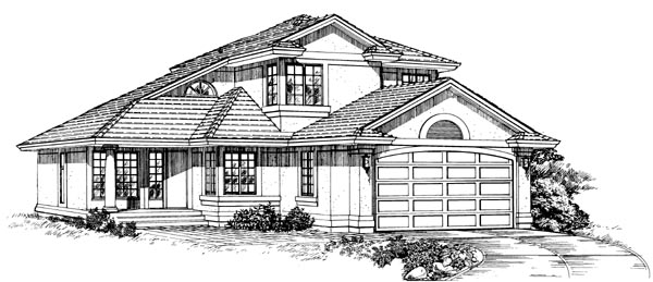 Contemporary , Narrow Lot , Elevation of Plan 55239