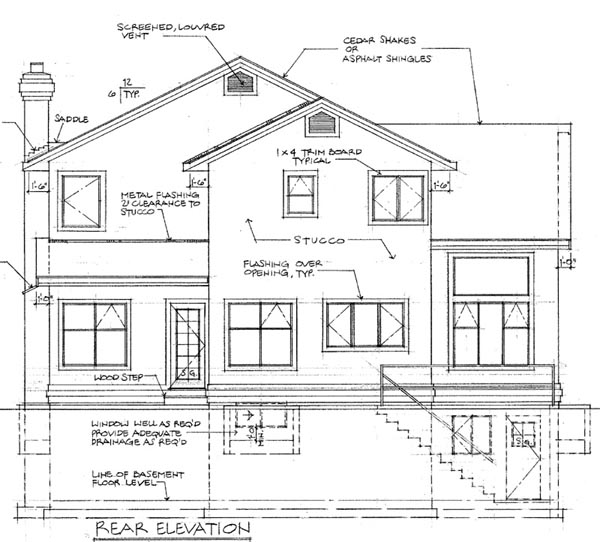 Mediterranean House Plan 55242 Rear Elevation