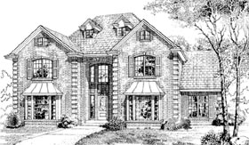 European House Plan 55250 with 4 Beds, 3 Baths, 2 Car Garage Elevation